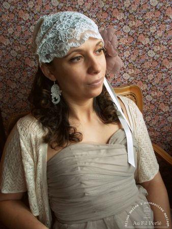 bonnet mariée dentelle bohème rétro bijoux mariage www