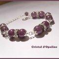 Bracelet perles magique violine et strass - 289