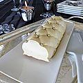 Bûche mousse chocolat blanc et noix de coco, insert ananas