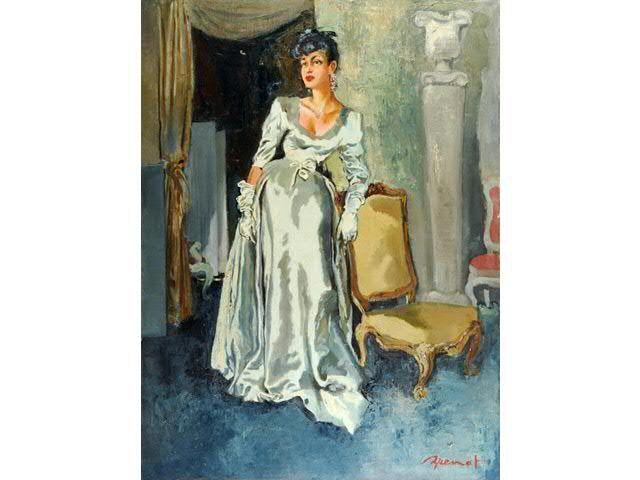 La dame bleue de chez Balenciaga, Versailles. Huile sur toile, signée en bas à droite. 130 x 97 cm.