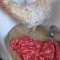 Culotte BIANCA en coton rouge imprimé coquelicots - Noeud de vichy rouge (1)
