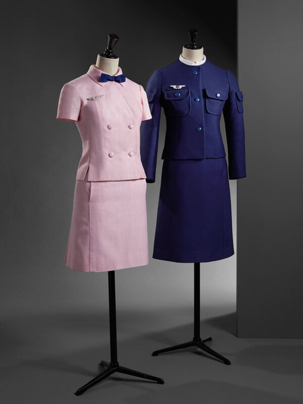 Uniforms for Air France hostesses, 1968. Photo: Cristóbal Balenciaga Museum, Getaria, Spain.
