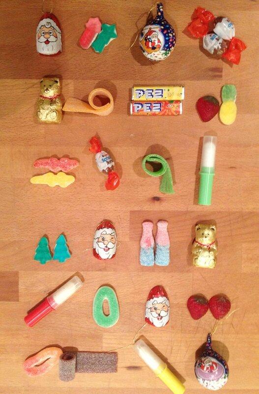 Calendrier de l'avent-Haribo-Pez-chocolat Lindt-Haribo de Noël