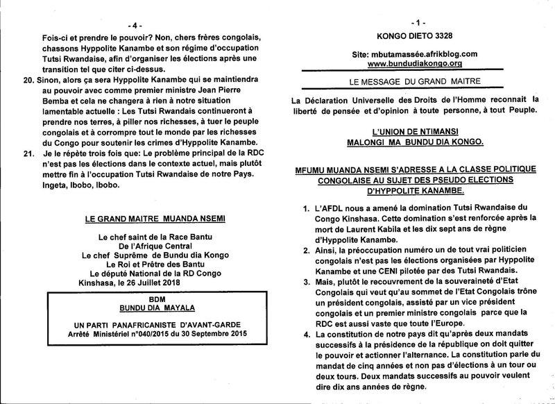 MFUMU MUANDA NSEMI S'ADRESSE A LA CLASSE POLITIQUE CONGOLAISE A PROPOS DES PSEUDO ELECTIONS D'HYPPOLITE KANAMBE a
