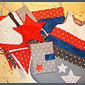 En blanc et gris, rouge et bleu, avec des étoiles...