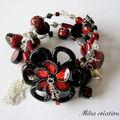 bracelet memoire fleur noir et rouge