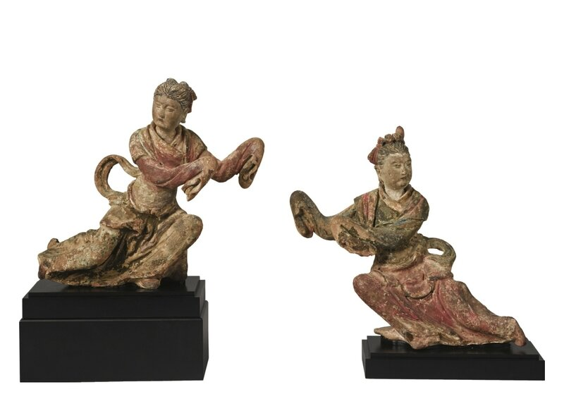 Two painted stucco 'apsara' figures, Ming dynasty