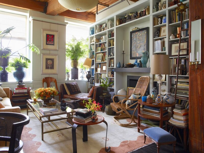 eclectic-living-room-bookshelves-artwork-busy-interior-alexandra-loew