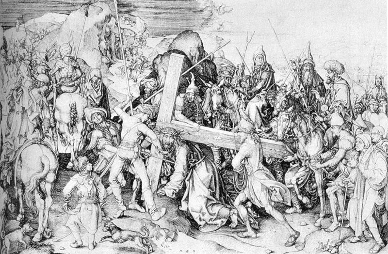 1475 ca Martin SCHONGAUER - La grande Montée vers le Calvaire - gravure au burin