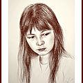 Portrait à la sépia sur papier blanc 30 x 40 cm