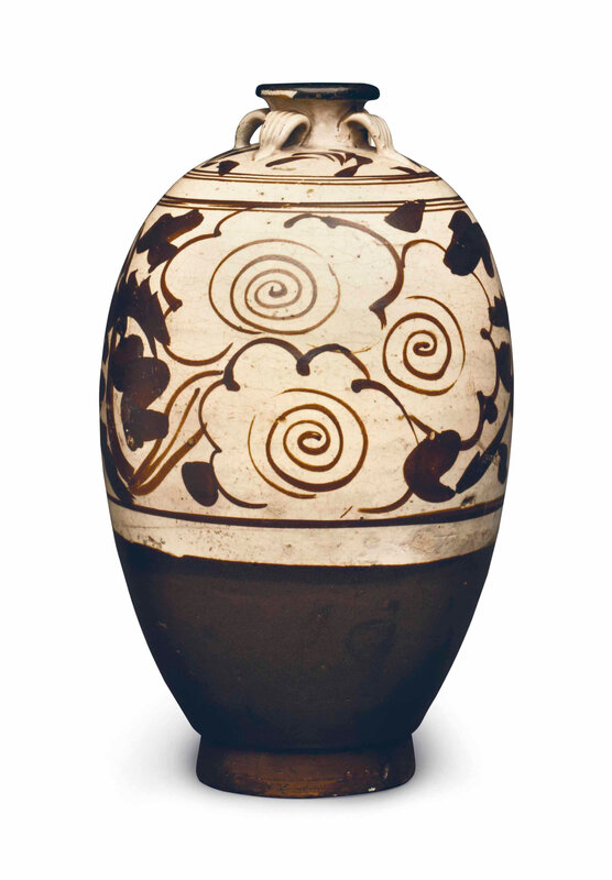 A Cizhou-type brown slip-painted ovoid jar, Jin-Yuan Dynasty (1115-1368)