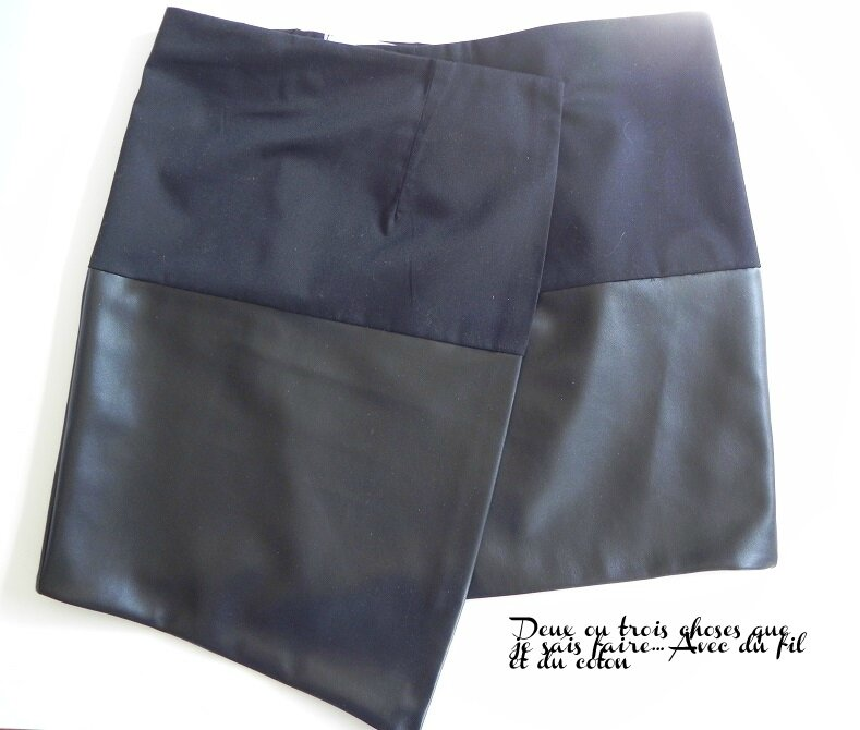 jupe cuir et lainage