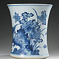 A large blue and white brushpot (bitong), transitional period, 17th century