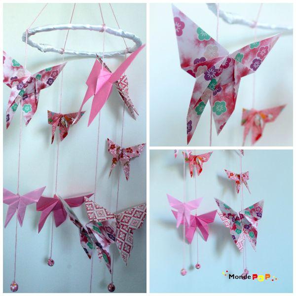 mobile papillons rose fleursL