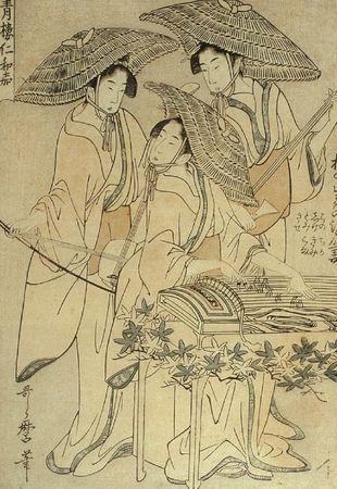 Utamaro Kitagawa Trois Musiciennes 1799
