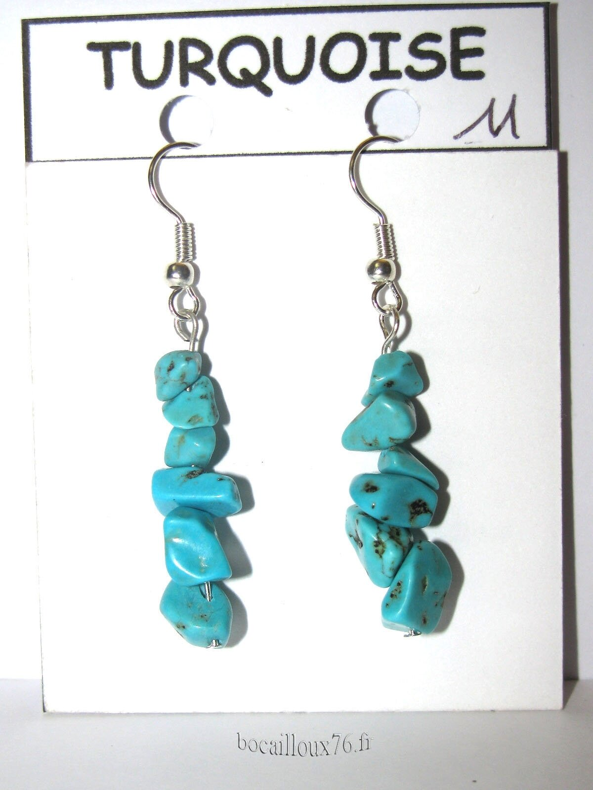 BOUCLE OREILLE TURQUOISE 11 CHIPS - CROCHETS ARGENTES