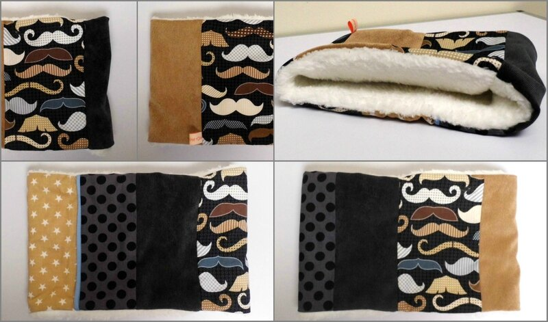 Snood cache cou moustaches beige noir