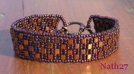 Bracelet CHECKERED PEYOTE amethyste