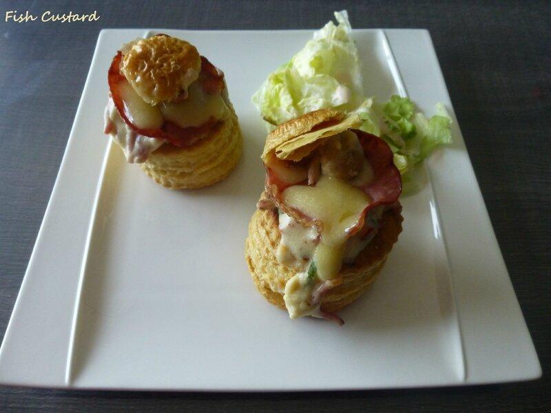 Bouchées feuilletées à la béchamel, jambon et champignons (2)