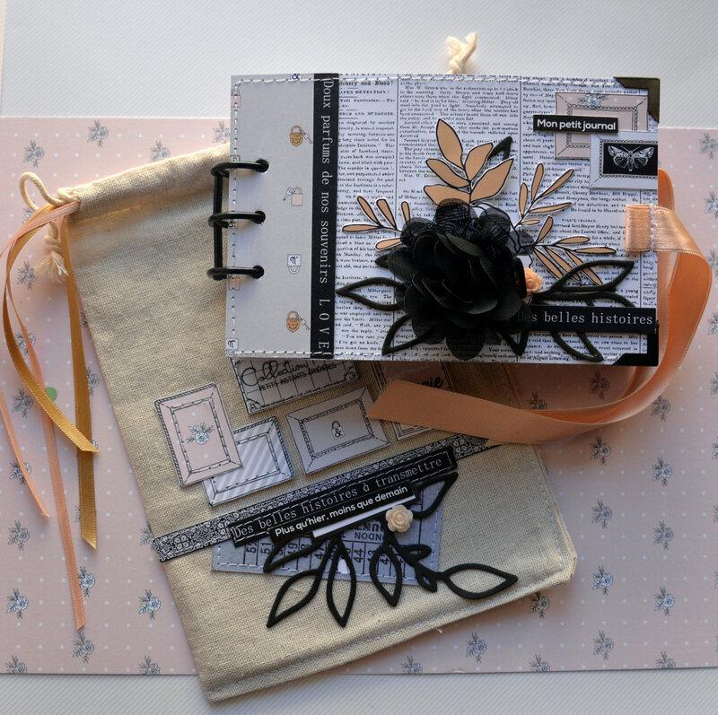 mini Marie - collection esprit brocante - devant de couverture avec pochon#1- claire scrap at home - chou&flowers