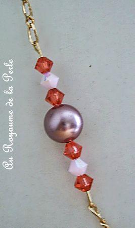 Collier rose plaqué or et perles de Majorque 3a