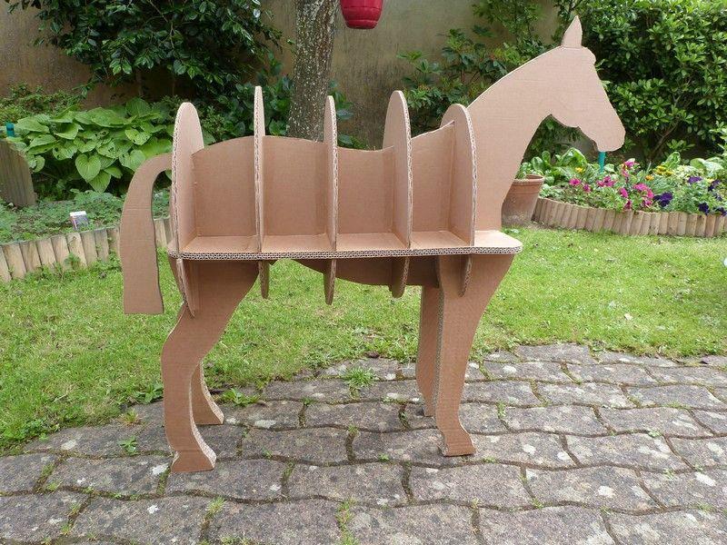 bibliotheque cheval en carton exoticcreation. Black Bedroom Furniture Sets. Home Design Ideas