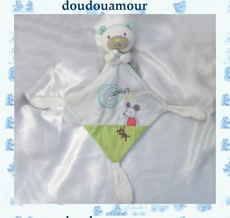 Doudou Peluche Mouchoir Ours Blanc Bleu Vert Gris, Chut on dort Souris Pommette