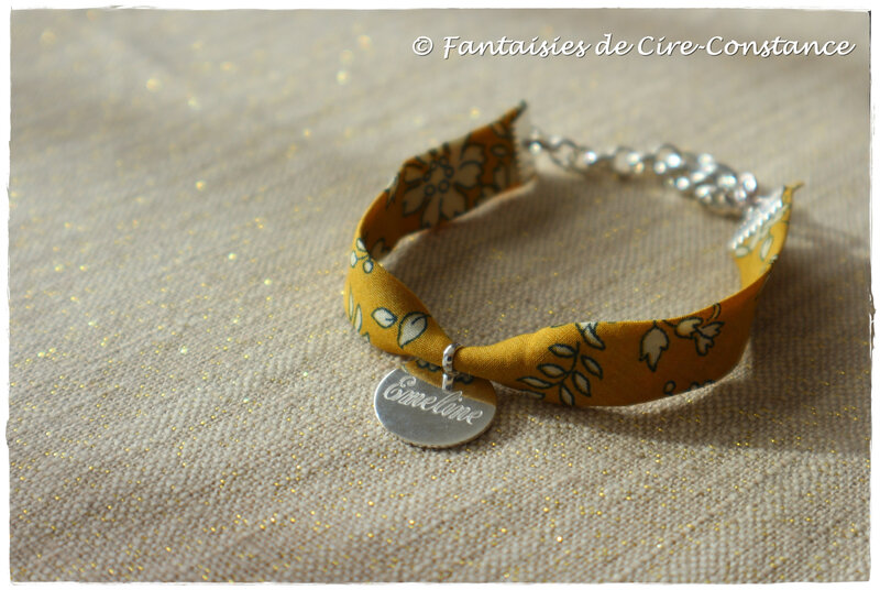 Bracelet Capel moutarde médaille 15 mm