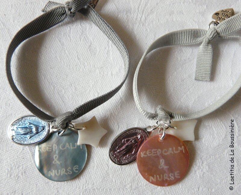 Bracelet d'allaitement Marie (bleu clair et rose clair)