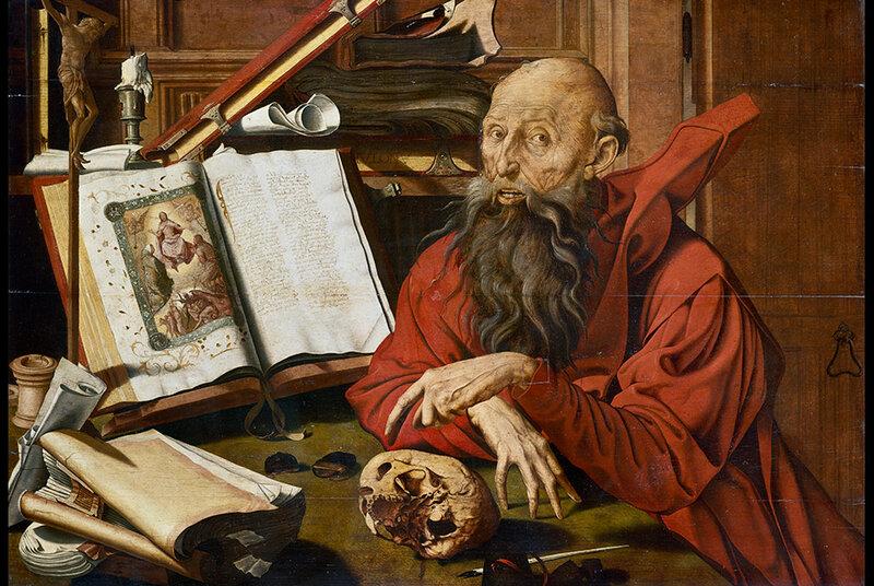 Marinus van Reymerswaele, Saint-Jérôme méditant. Huile sur bois, 75 x 107 cm. Musée de la Chartreuse-Douai © RMN