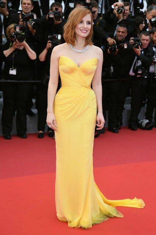Jessica-Castain-Robe jaune