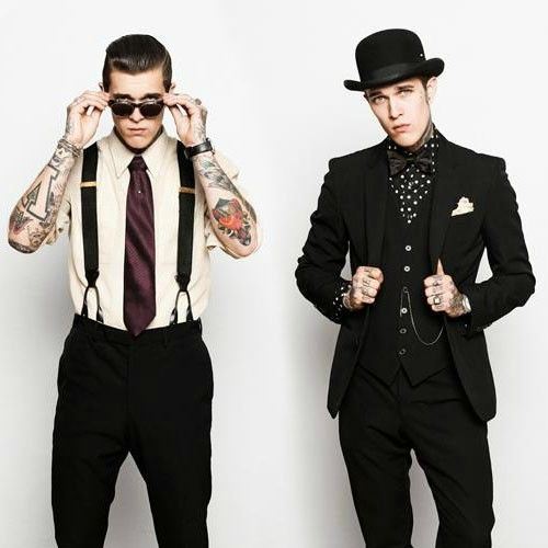 male model tattooed suits