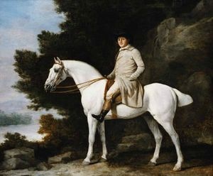 A-Gentleman-on-a-Grey-Horse-in-a-Rocky-Wooded-Landscape