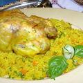 Poulet rôti sur lit de riz au carottes
