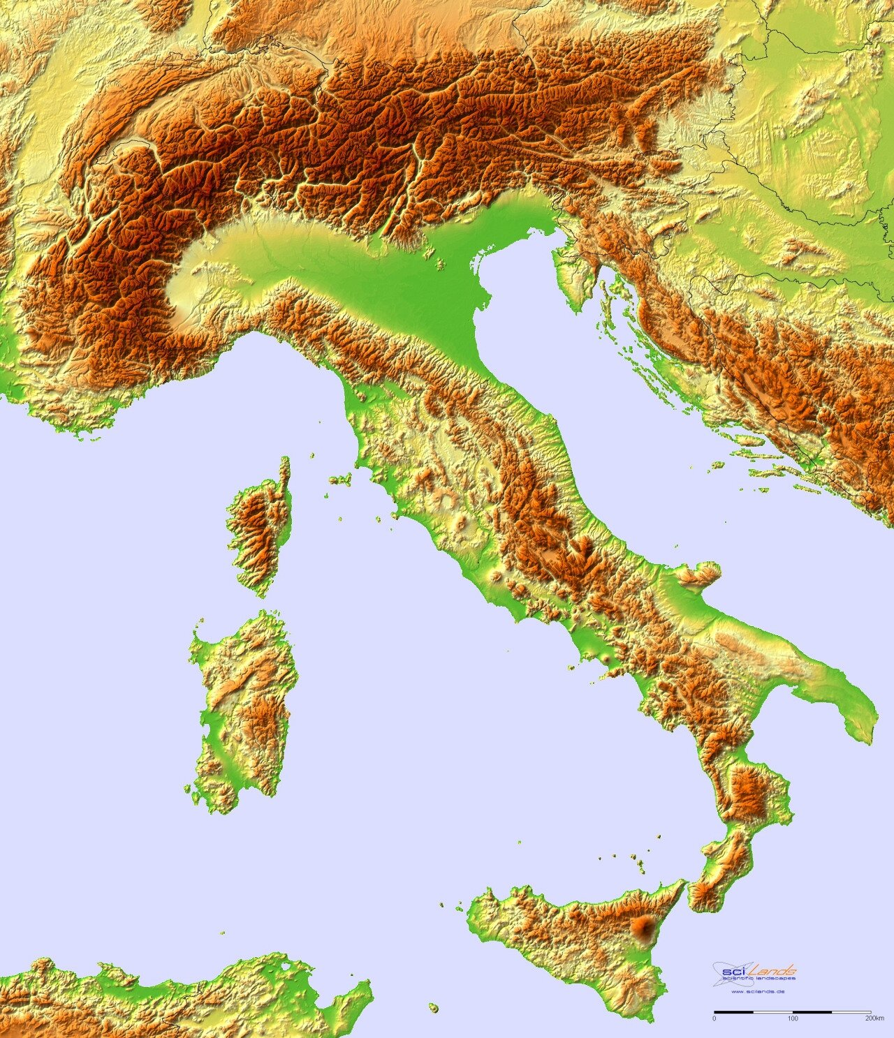 italie-Topographic hillshade map of Italy