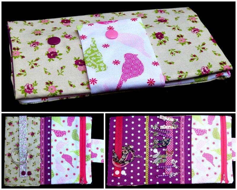 pochette à bijoux fleuri rétro rose et violet