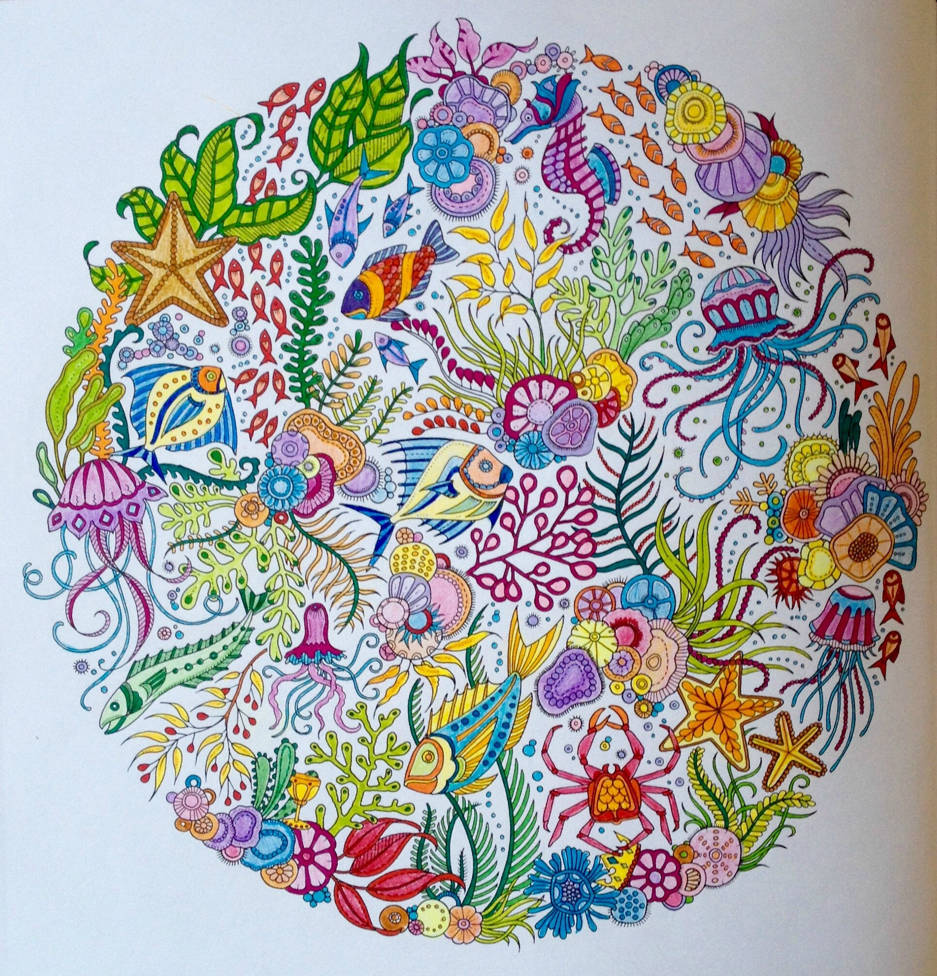 Coloriage 1 Océan Perdu Mandala Poissons Dans La Bulle