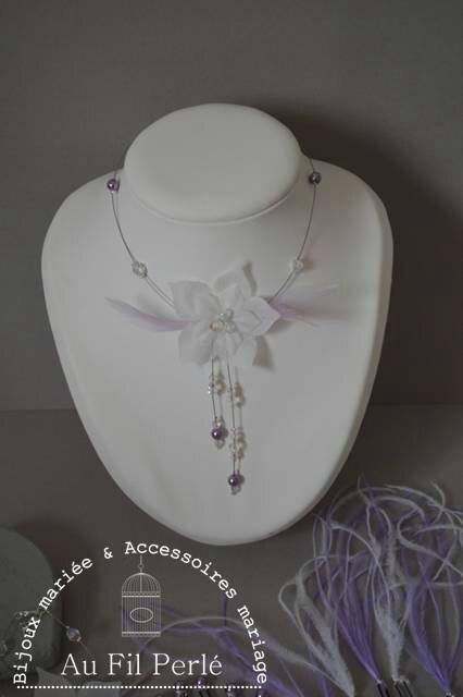collier mariée mariage fleur de soie plumes perles ivoire blanc parme mauve
