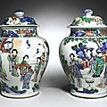 A Rare Pair of Wucai Jars, Transitional Period