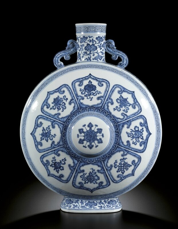 A fine Ming-style blue and white pilgrim moonflask, Mark and period of Qianlong