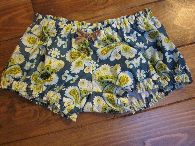 Culotte en coton wallpaper vintage vert et noeud assorti - taille S