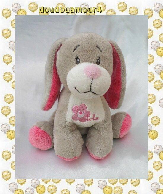 Doudou Peluche Chien Assis Gris Rose Blanc Fleur Arthur et Lola Bébisol