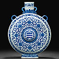 A rare ming-style blue and white moonflask, qianlong seal mark in underglaze blue and of the period (1736-1795)