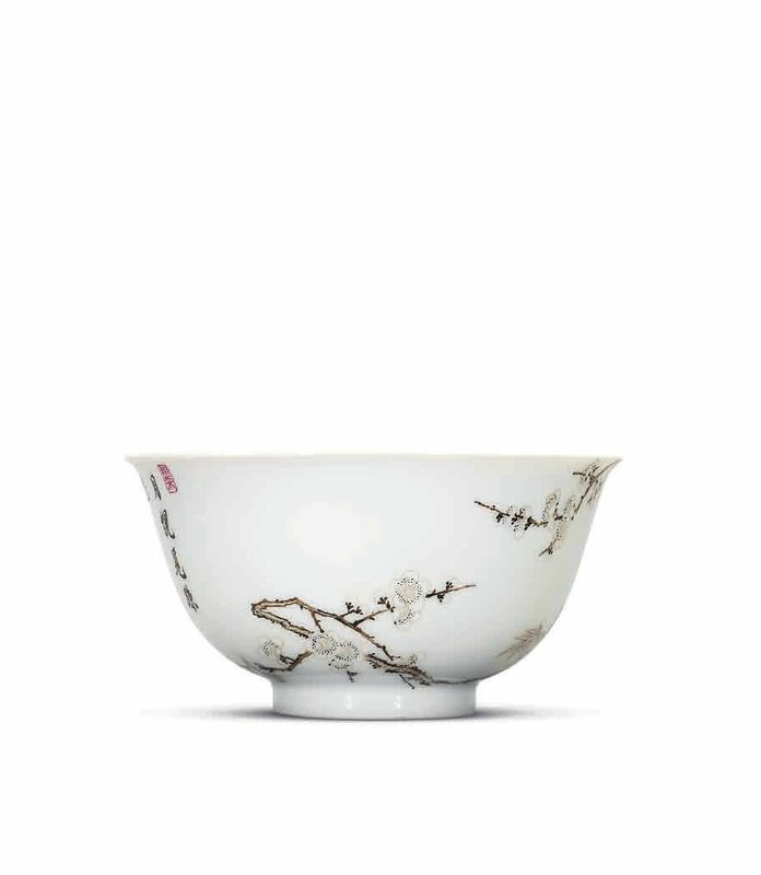 A fine and importantfalangcaisepia-enamelled 'prunus and bamboo' bowl, Yongzheng four-character mark in blue enamel within a double square and of the period (1723-1735)