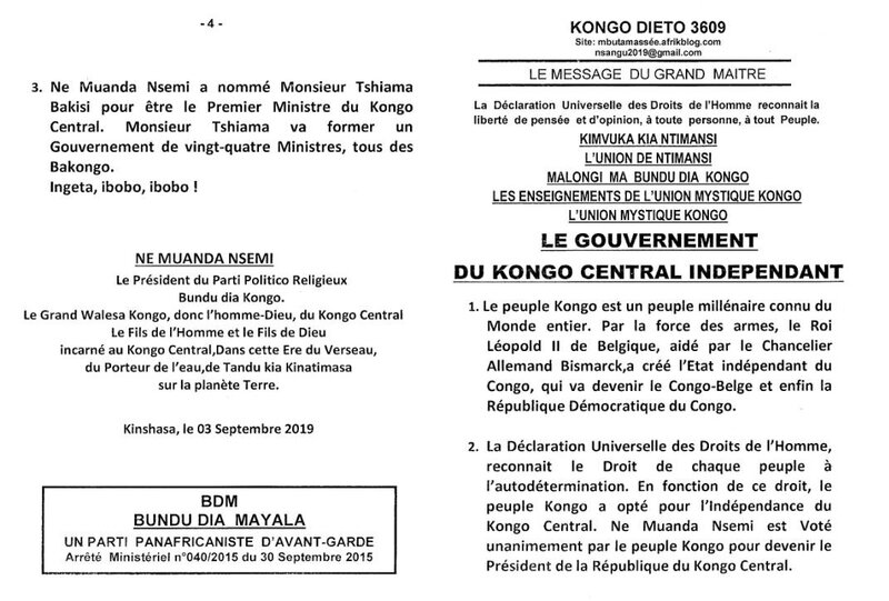 LE GOUVERNEMENT DU KONGO CENTRAL INDEPENDANT a