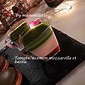 Saumon, basilic, mozzarella et tomate