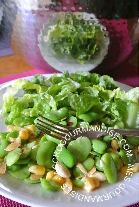 Salade de Fèves fraîches aux amandes