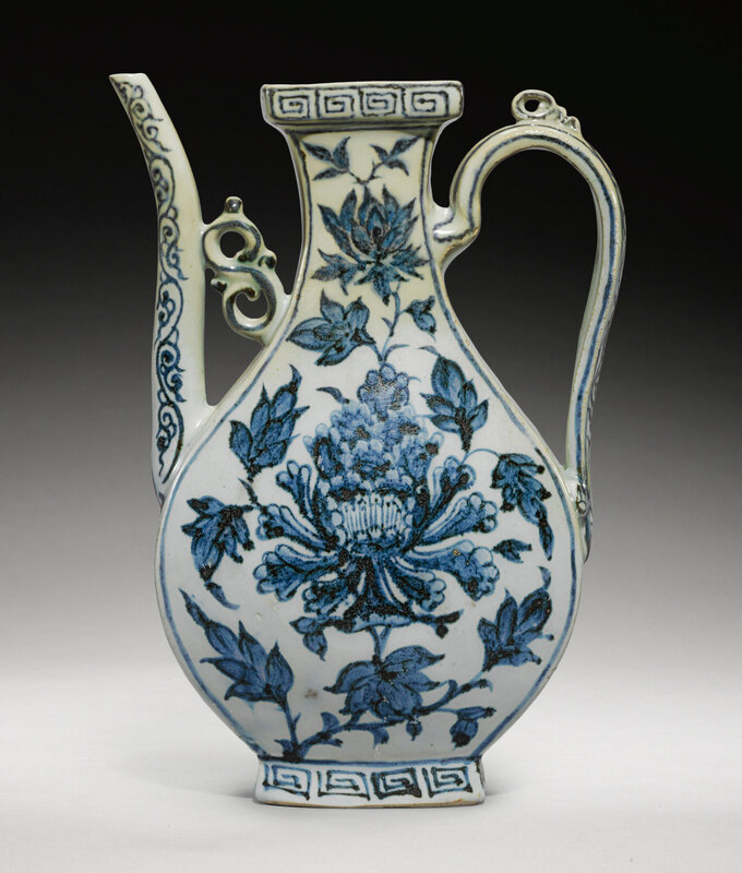 A rare blue and white ewer, Yuan dynasty