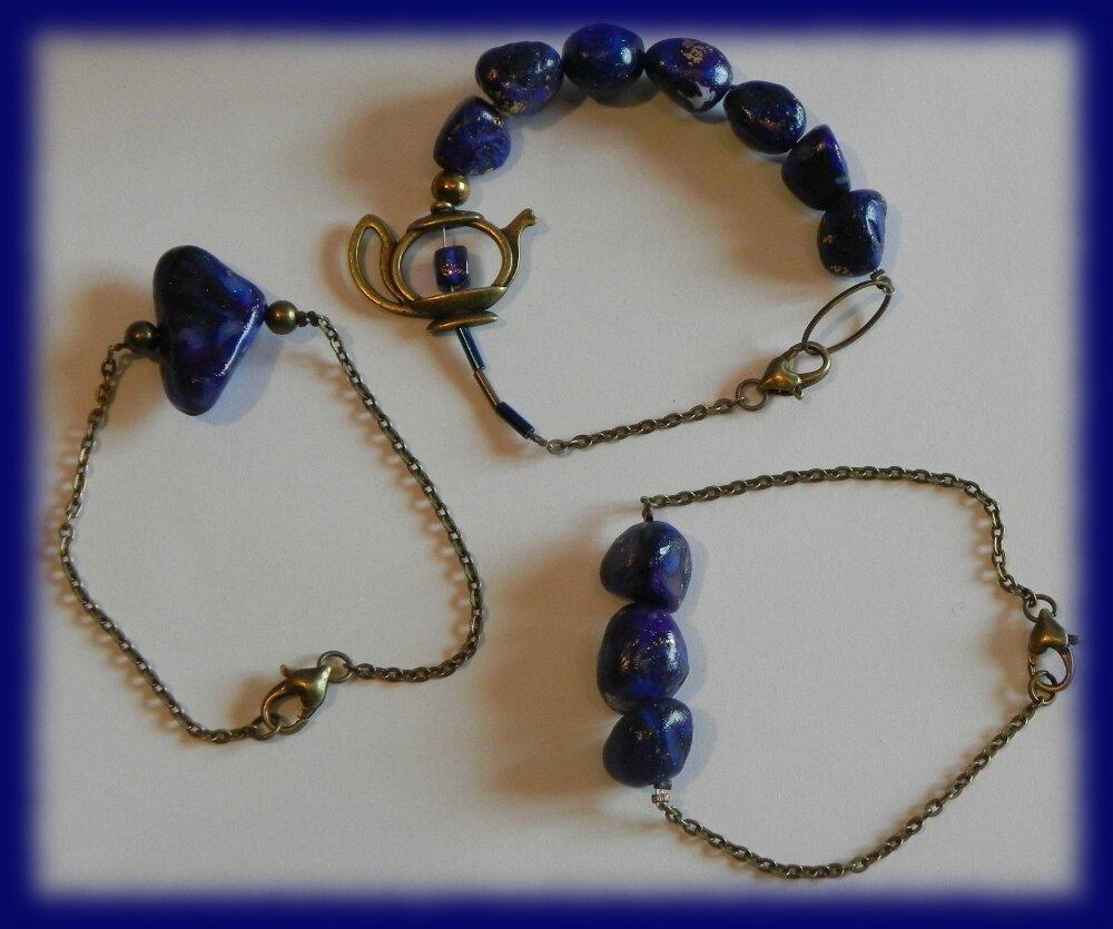 Trois bracelets Lapis lazuli