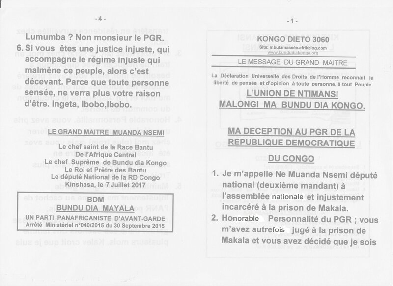 MA DECEPTION AU PGR DE LA REPUBLIQUE DEMOCRATIQUE DU CONGO a